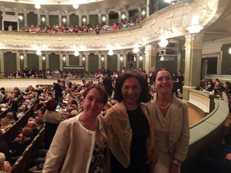 Maria Taveras with Russian Jungians Elena Pourtova and Oxana Lavrova at the Boshoi Theatre in Moscow.