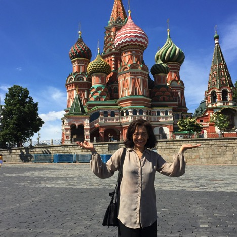 Maria Taveras in Moscow at St. Basil's Cathedral in Red Square.